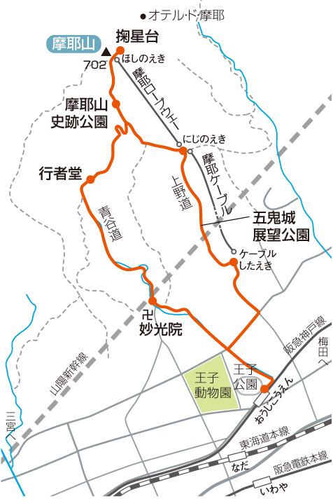 摩耶山のおすすめ登山コースマップ