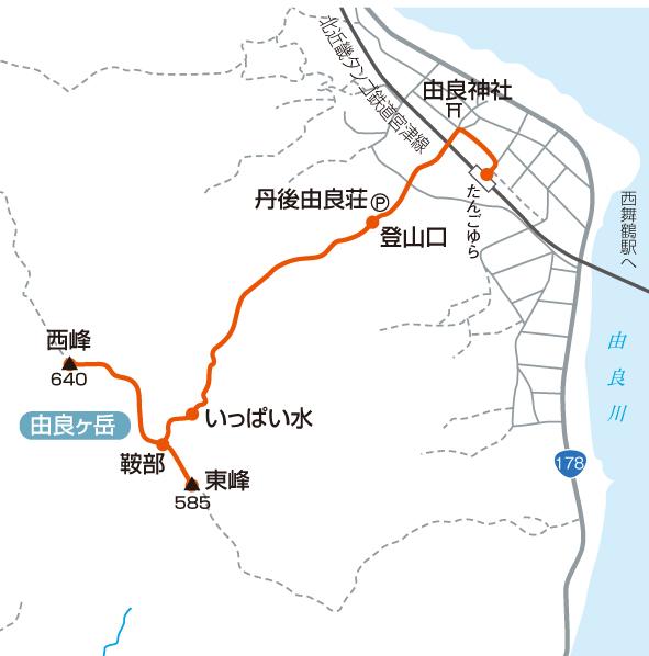 由良ヶ岳のおすすめ登山コースマップ