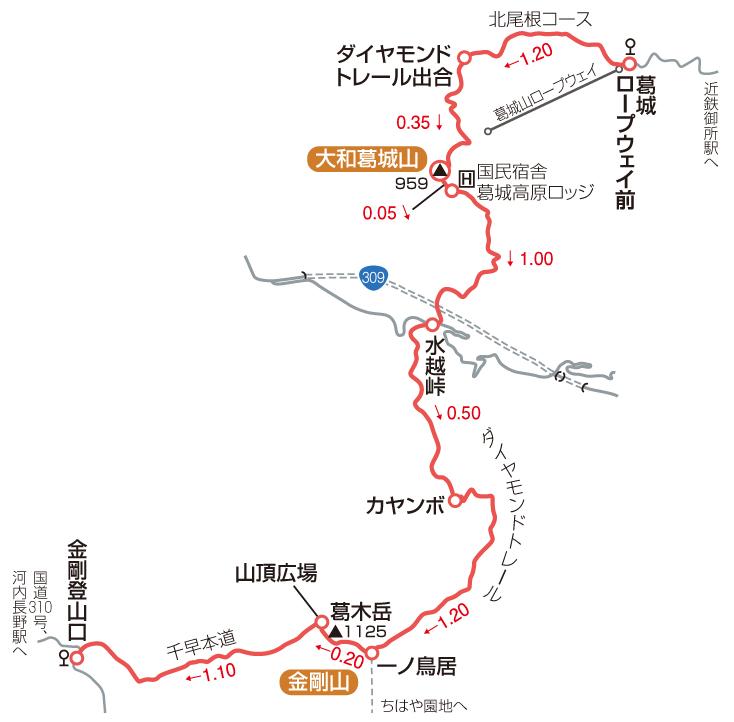 大和葛城山・金剛山マップ