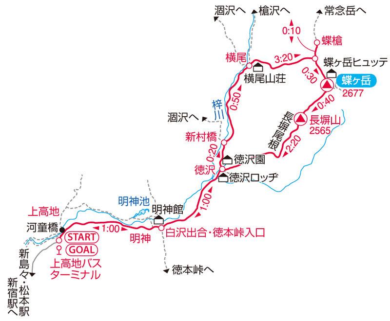 蝶ヶ岳マップ