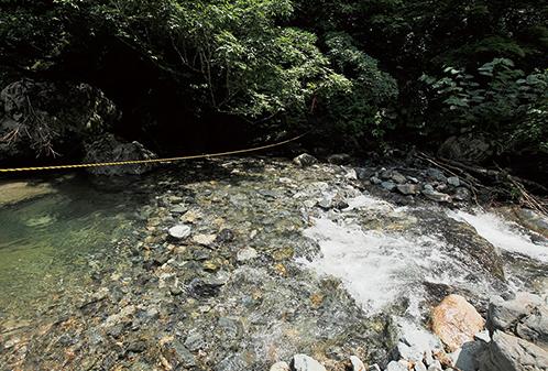 大源太山 濡れた岩は滑りやすい。慎重にわたろう