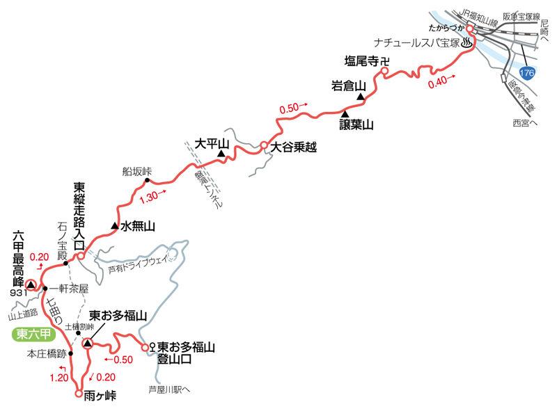 東六甲縦走路マップ