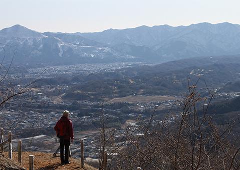 宝登山  山頂付近からの眺め。左端は武甲山