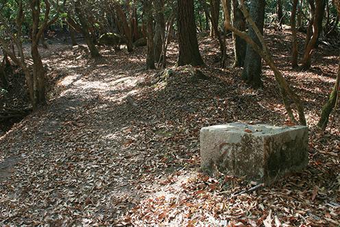 剣尾山 山頂直下の月峯寺跡。磨崖仏もあり、史跡散策も楽しい