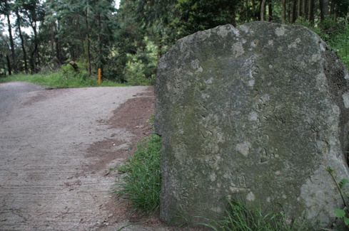 三草山 古い峠道が通っていた才ノ神峠。源平合戦の時に義経が越えたとも