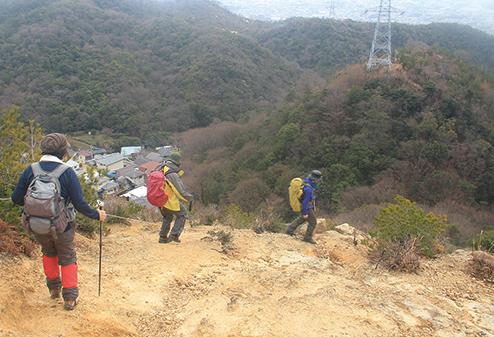 中山連山 ロープ場は中山連山最大の難所