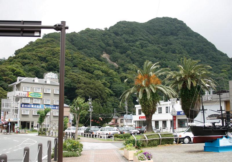 下田駅の改札をでて、すぐ西側に見えるのが下田富士