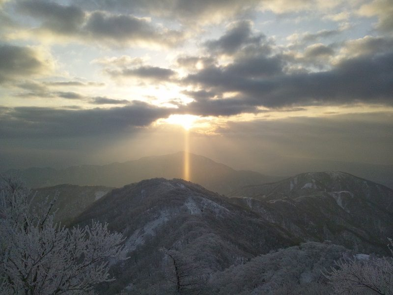 1,500m付近の丹沢。一面銀世界