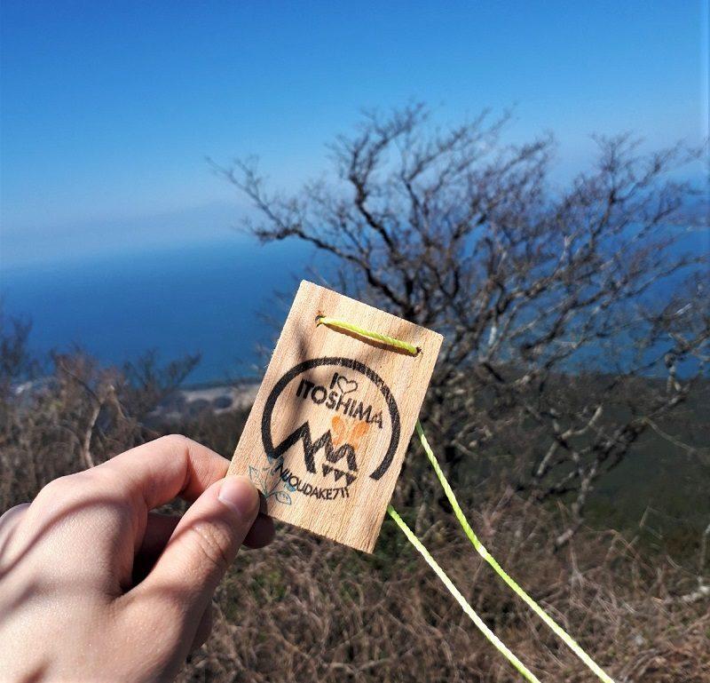 二条岳 山頂 記念木札